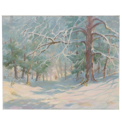 "Mitzi Goward Oil Painting ""Wintery Trails"", 20th Century"
