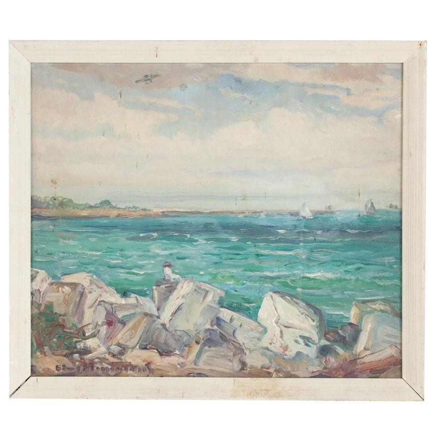 Impressionist Seascape Oil Painting, 20th Century