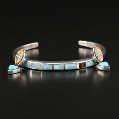 Southwestern Style Sterling Silver Cuff and Earrings With Mosaic Gemstone Inlay