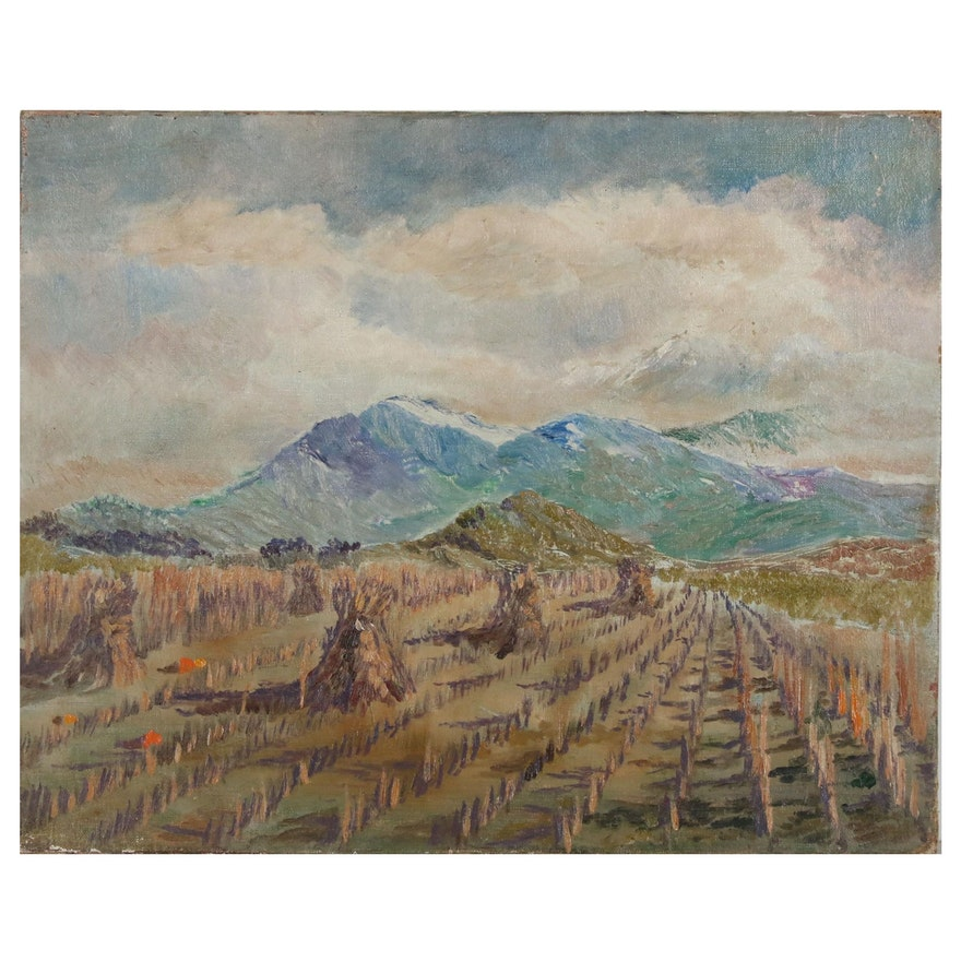 Landscape Oil Painting of a Wheat Field, 20th Century