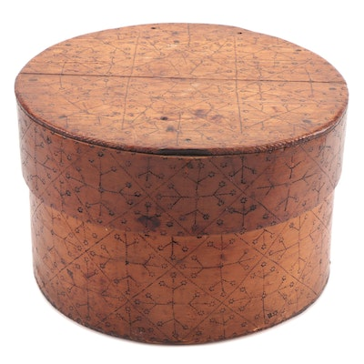 Scandinavian Handmade Bentwood Box with Pyrography, 19th Century