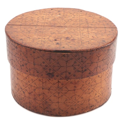 Scandinavian Handmade Bentwood Box with Pyrography, 19th Century