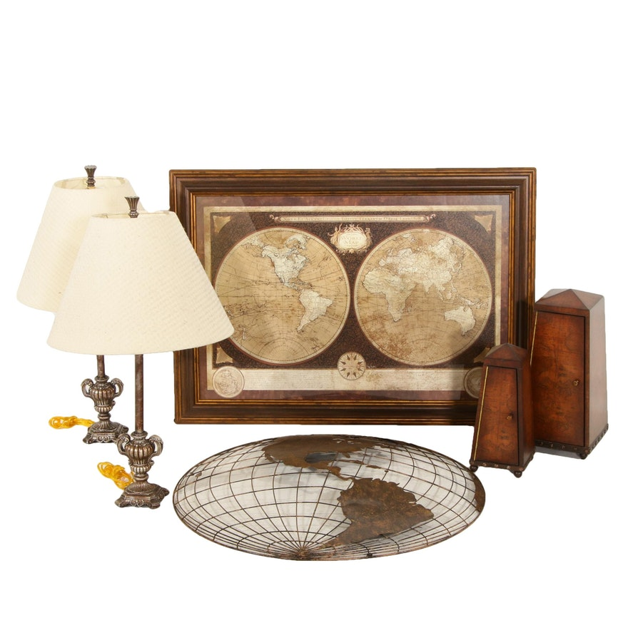 Table Lamps, Framed Map Print, Metal Wall Art and More