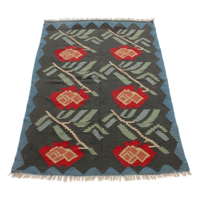 4'5 x 6'9 Handwoven Turkish Village Kilim Rug, 1930s