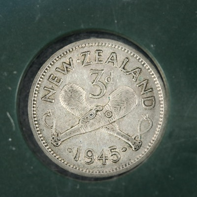 1945 Silver George VI New Zealand 3-Pence Coin