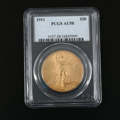 PCGS Graded AU58 1911 Saint-Gaudens $20 Gold Double Eagle