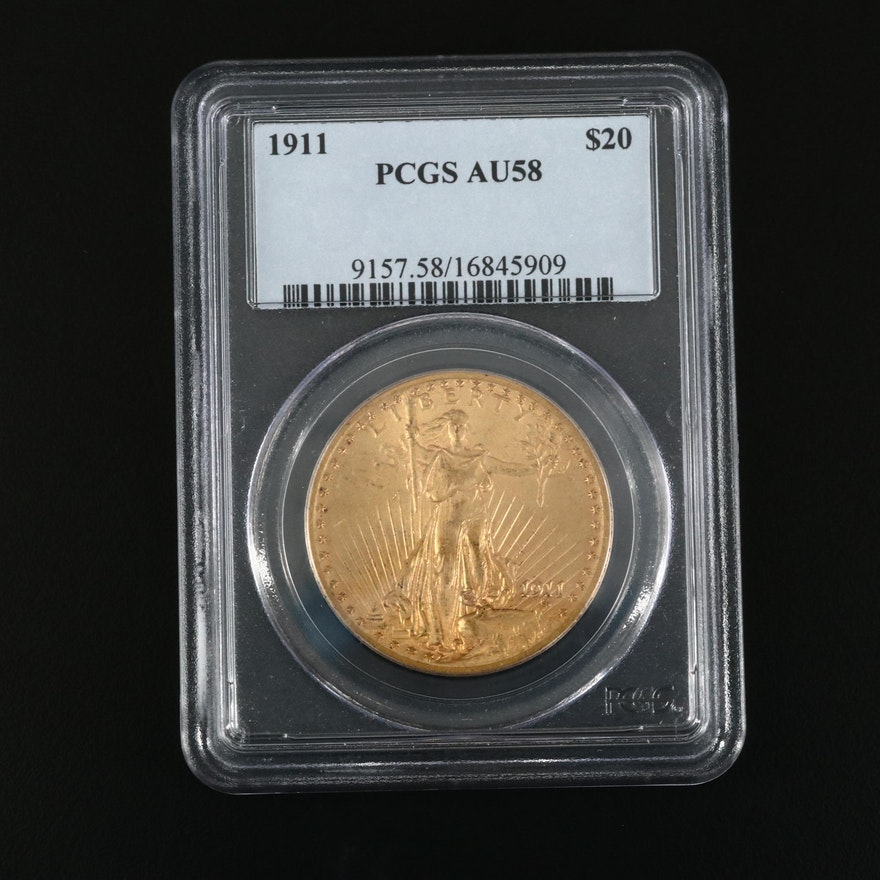 PCGS Graded AU58 1911 Saint-Gaudens $20 Gold Double Eagle