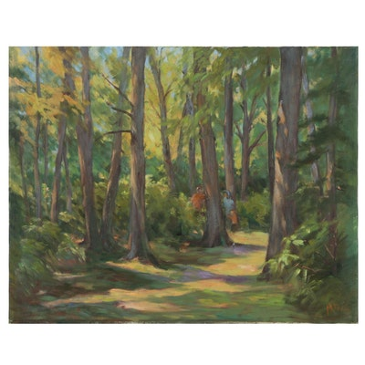 Mitzi Goward Oil Painting of Two Figures in a Forest, 20th Century