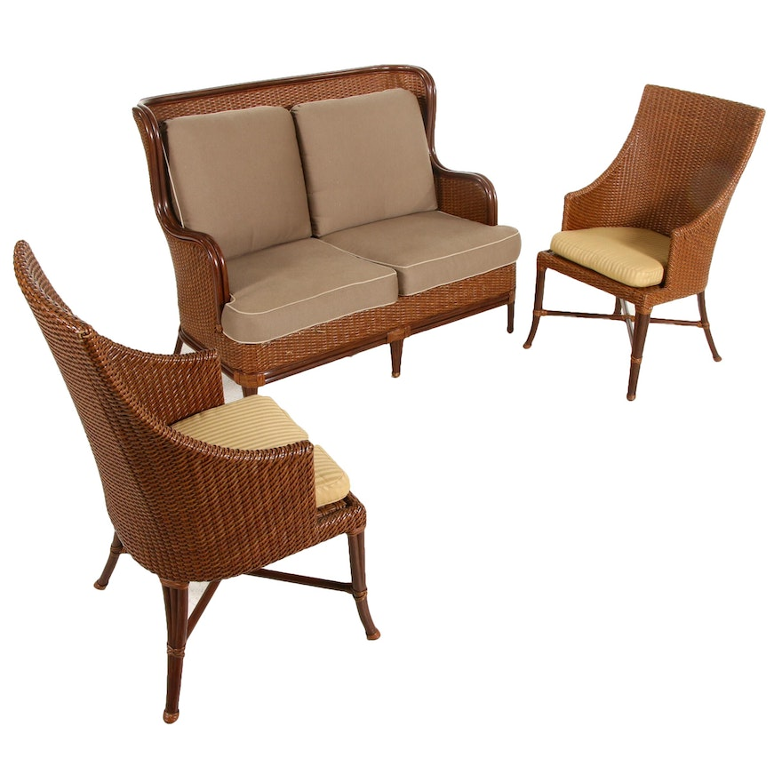 Frontgate Faux Rattan Wicker Patio Loveseat Sofa and Chairs