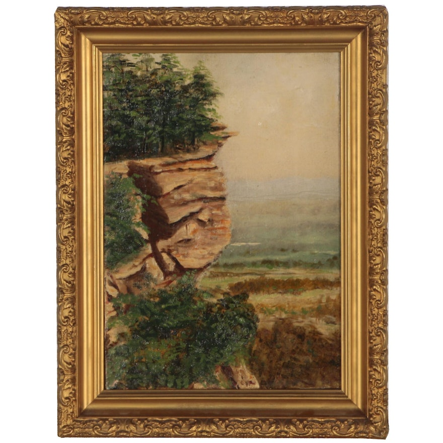 Cliffside Landscape Oil Painting, Early 20th Century