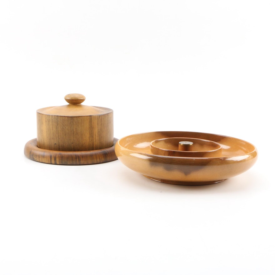 Duncan's Wooden Serving Bowl and Cheese Dome, Mid to Late 20th Century