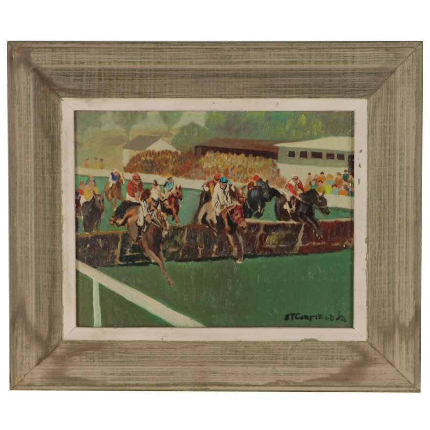 """Horse Race Oil Painting """"St. Corfield Drive"""" , Mid 20th Century"""