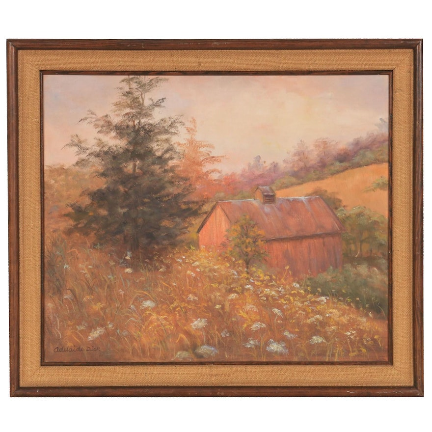 Adelaide Dick Rural Landscape with Barn Oil Painting, Mid to Late 20th Century