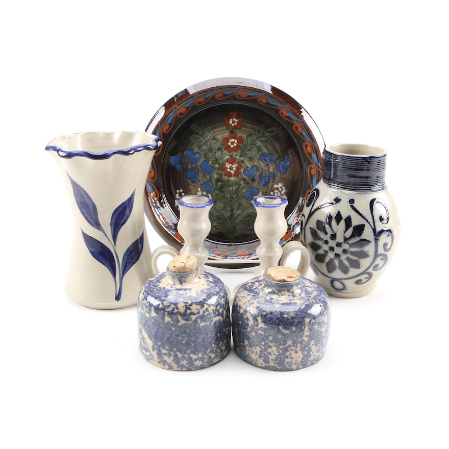 Williamsburg Restoration Pitcher with Candlesticks, Vase, Charger, and More