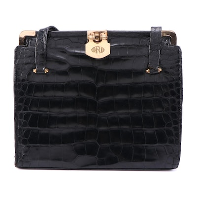 Artkraft Studios Bags New York Black Alligator Skin Handbag, Mid-20th Century