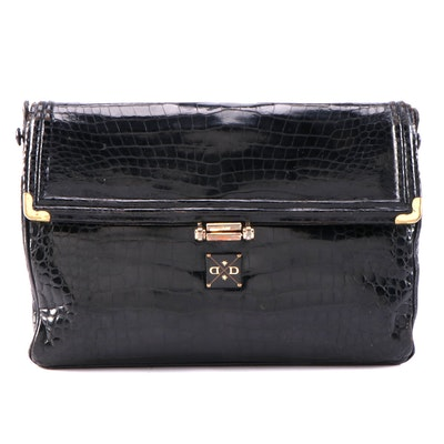 Morabito Paris Black Crocodile Skin Handbag, Mid-20th Century
