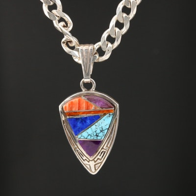 Calvin Begay Navajo Diné Sterling Inlay Gemstone Pendant Necklace