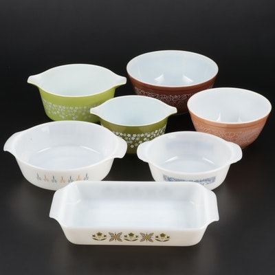 Pyrex, Anchor Hocking, and Courier & Ives Mixing Bowls and Baking Dishes