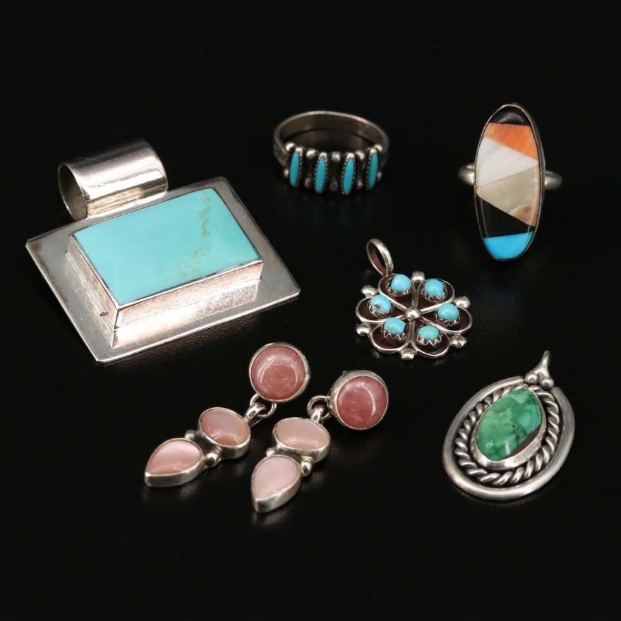 Sterling Mother of Pearl and Coral Jewelry Featuring Geneva Apachito Navajo Diné