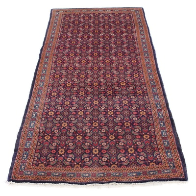 3'8 x 9'6 Hand-Knotted Persian Mahal Rug, 1970s