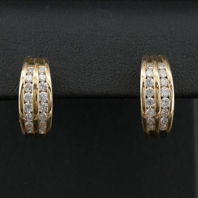 14K Yellow Gold 1.02 CTW Diamond Hoop Earrings