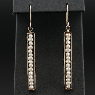 10K Gold Pearl Dangle Earrings