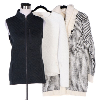 Guideboat Co. Shaniko Wool Shawl Collar Cardigan, Quilted Vest and Half-Zip Top