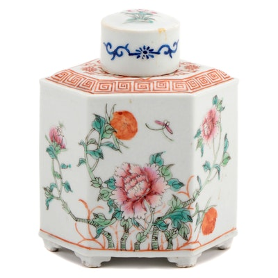 Chinese Porcelain Tea Caddy with Peony Motif, 20th Century
