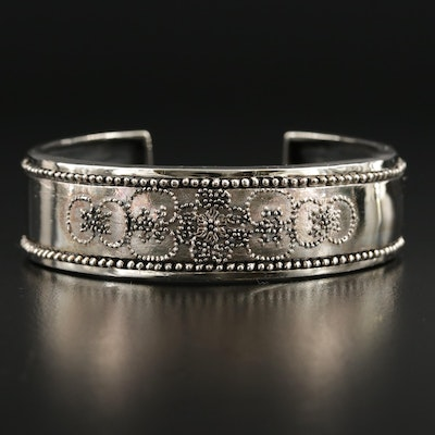 Sterling Silver Cuff Bracelet Featuring Floral Granulation Pattern
