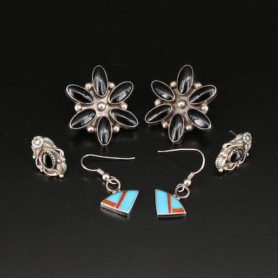 Southwestern Style Sterling Gemstone Earrings Featuring Circle J.W.