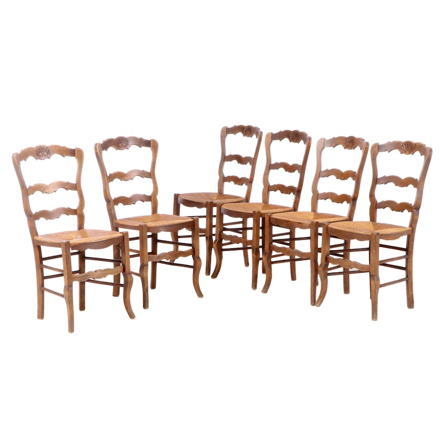 French Provincial Style Beech Ladderback Dining Chairs, Late 20th Century