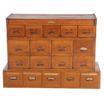 Oak Multi-Drawer Cabinets with Apothecary Containers, Including Rockwell-Wabash
