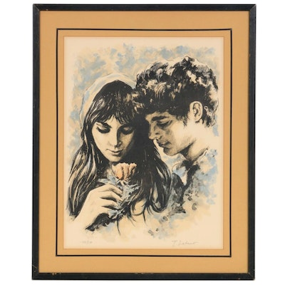 Color Lithograph of Young Couple, Early to Mid 20th Century
