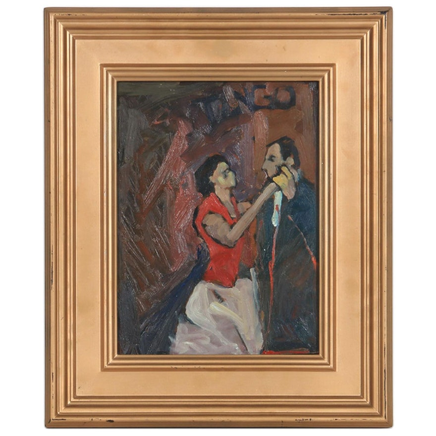Acrylic Painting Attributed to Jorge Luis Alio of Dancing Couple