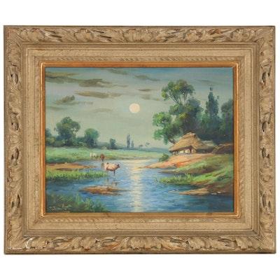 Toyosaku Saito River Landscape Oil Painting