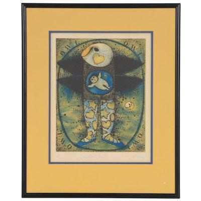 "Carol Jablonsky Lithograph ""Expectant Owl"""