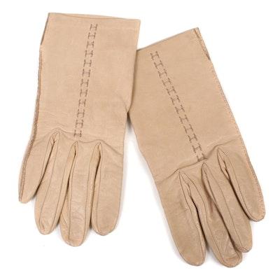 Hermès Paris Beige Lambskin Leather Gloves, Vintage