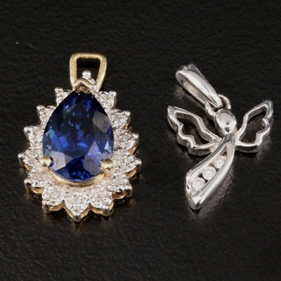 10K Yellow and White Gold Diamond and Sapphire Pendants