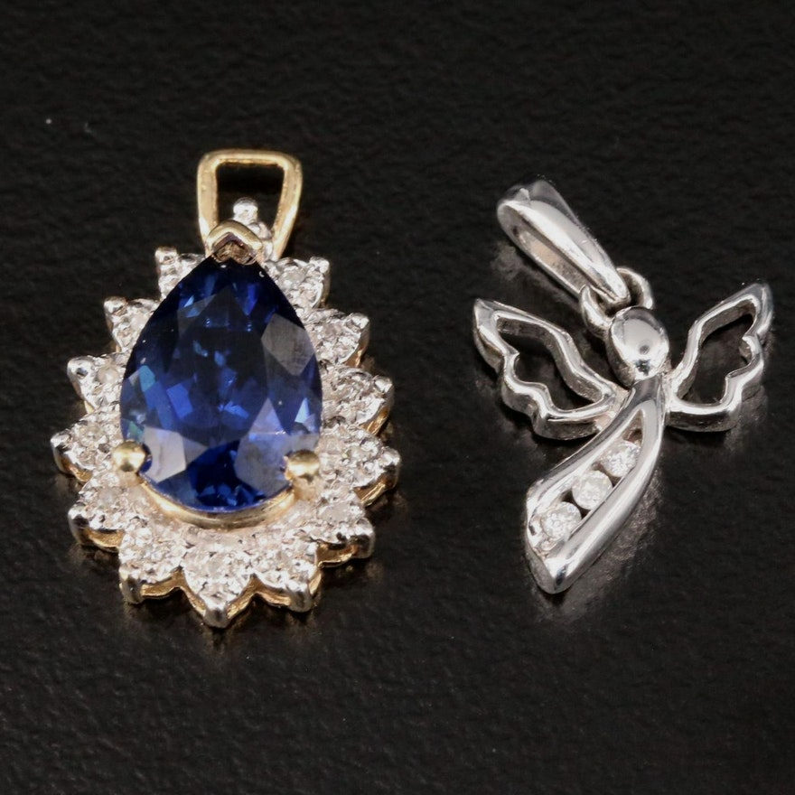 10K Yellow and White Gold Diamond and Sapphire Pendants