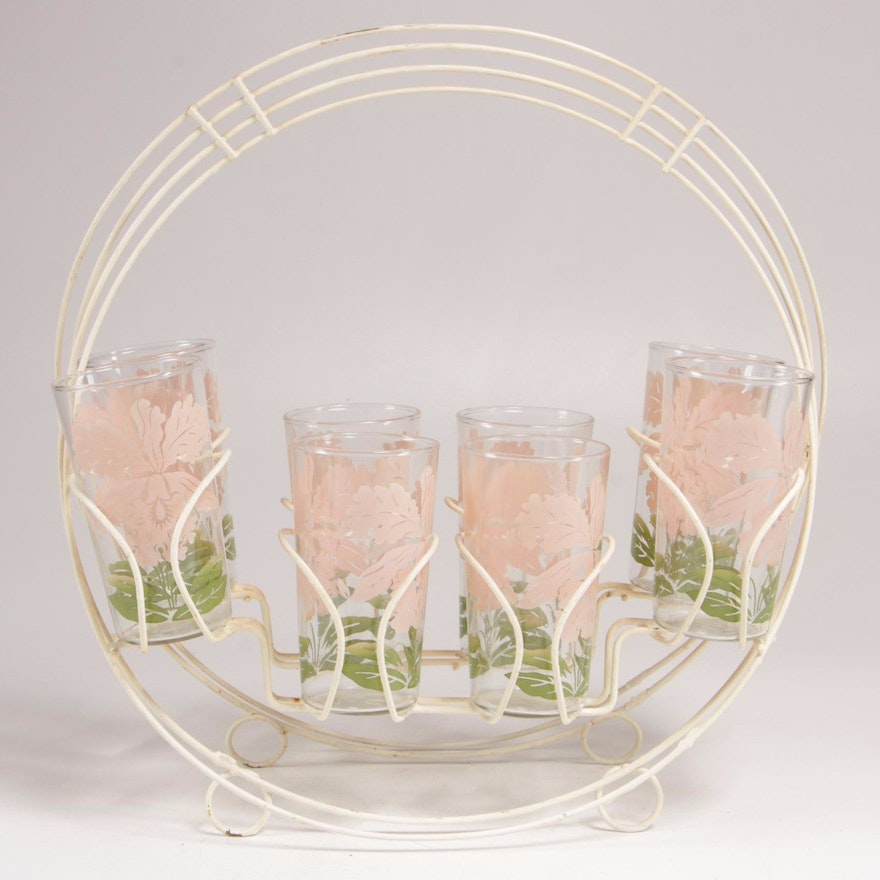 Wire Basket Caddy with Floral Motif Glass Tumblers, Mid to Late 20th Century