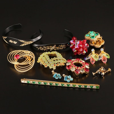 Vintage Rhinestone Brooches, Earrings and Bracelets