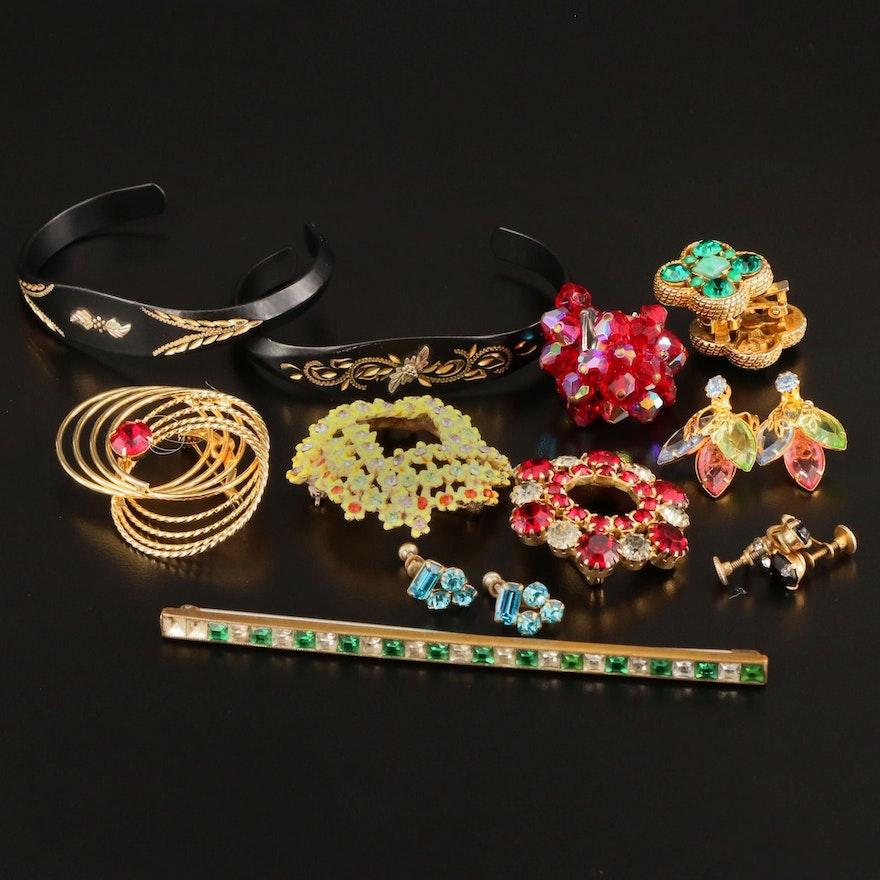 Vintage Rhinestone Brooches, Earrings and Bracelets