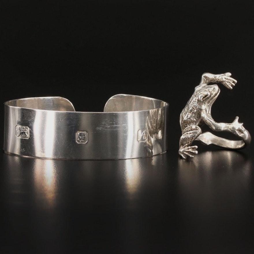 Vintage Sterling Silver Figural Frog Ring and Cuff Bracelet
