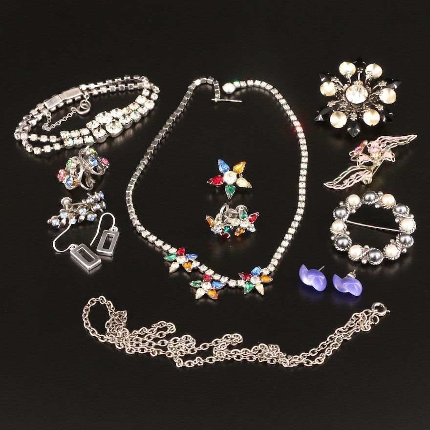 Vintage Rhinestone Jewelry Selection Featuring B. David