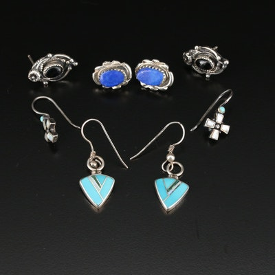 Southwestern Style Sterling Gemstone Earrings Including Circle J.W.