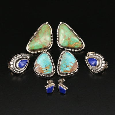 Sterling Silver Gemstone Earring Selection Including Roie Jaque Navajo Diné