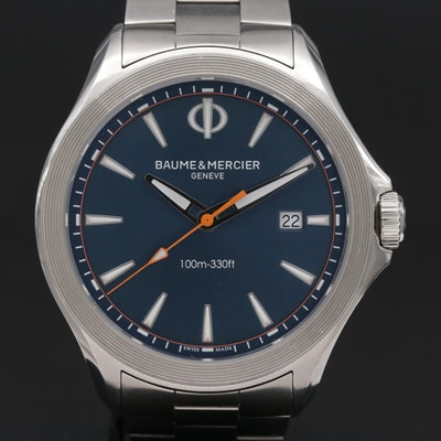 "Baume & Mercier ""Clifton"" Stainless Steel Quartz Wristwatch"