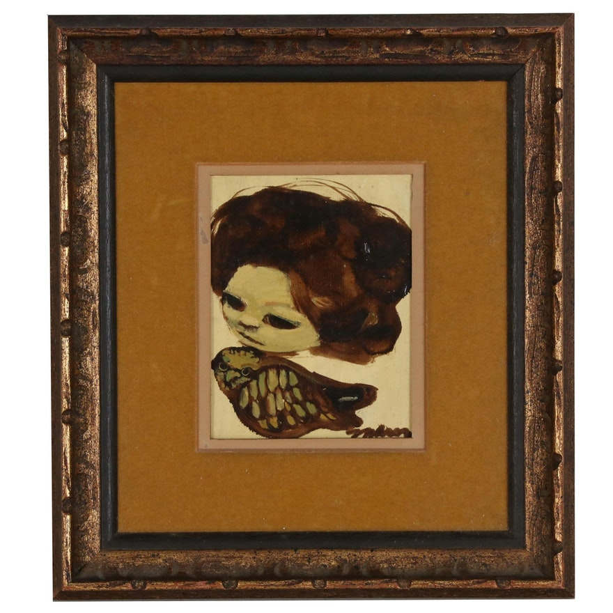 Portrait Oil Painting of Woman and Owl, Mid 20th Century