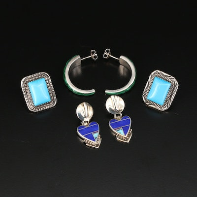 Sterling Earring Assortment Including George Begay Navajo Diné