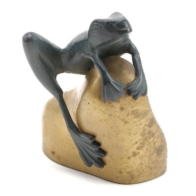David Kay Verdigris Frog Resting on Gold Tone Rock Sculpture